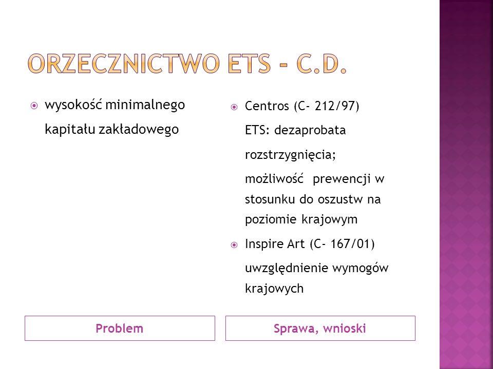 ProblemSprawa, wnioski wysokość minimalnego kapitału zakładowego Centros (C- 212/97) ETS: dezaprobata rozstrzygnięcia; możliwość prewencji w stosunku