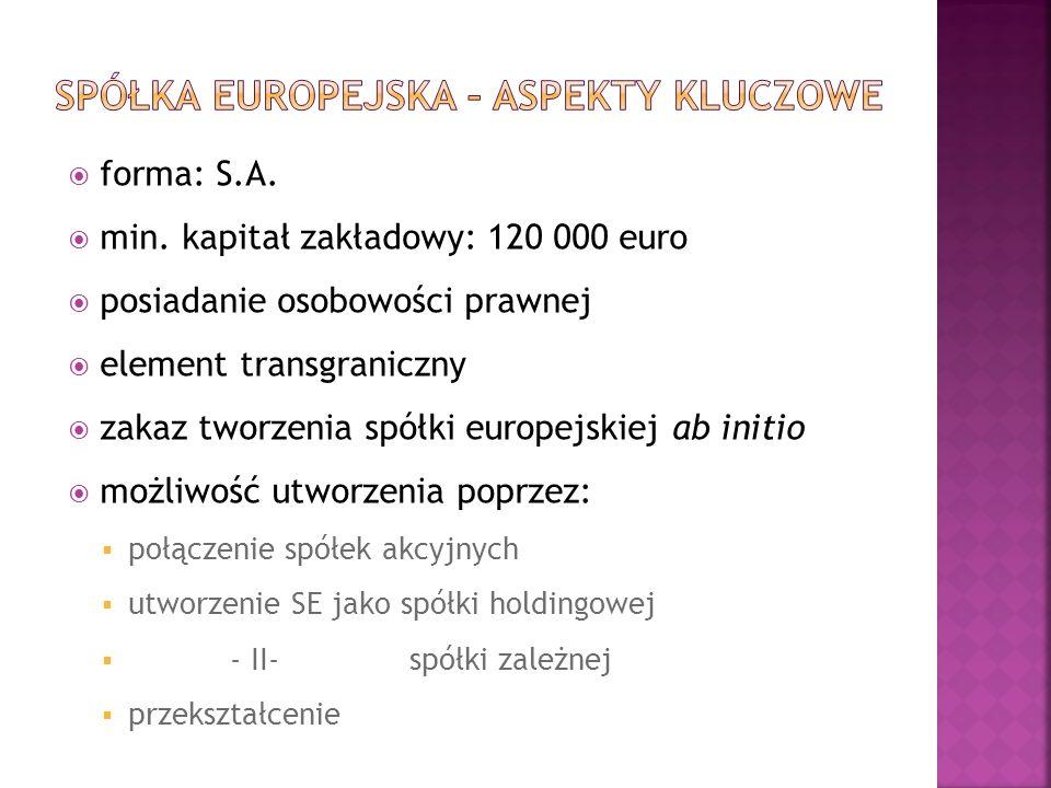 forma: S.A. min. kapitał zakładowy: 120 000 euro posiadanie osobowości prawnej element transgraniczny zakaz tworzenia spółki europejskiej ab initio mo