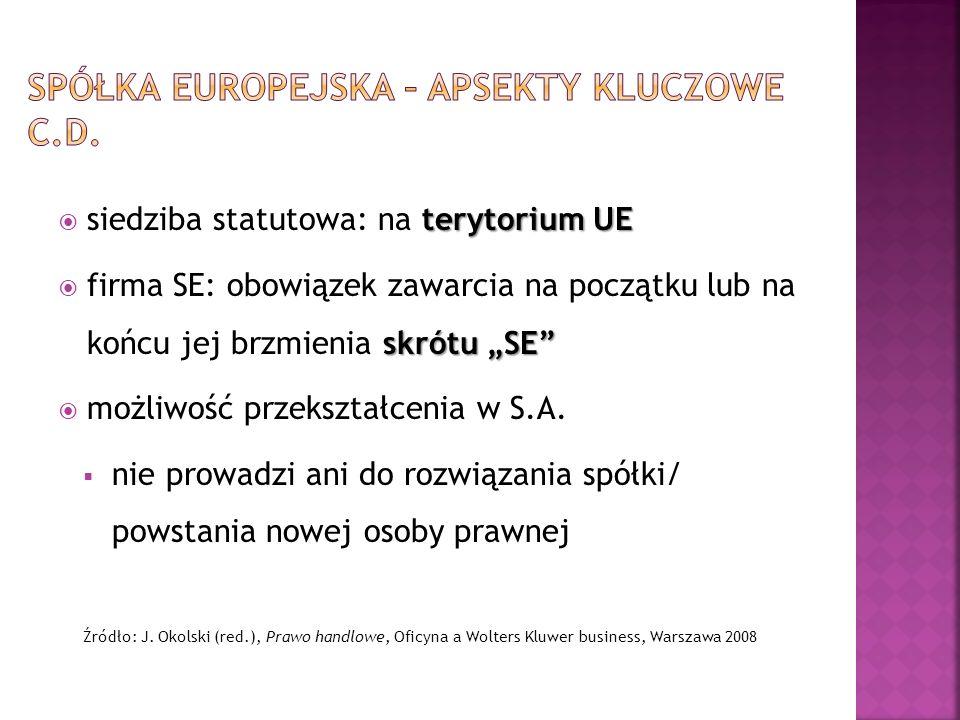 terytorium UE siedziba statutowa: na terytorium UE skrótu SE firma SE: obowiązek zawarcia na początku lub na końcu jej brzmienia skrótu SE możliwość p