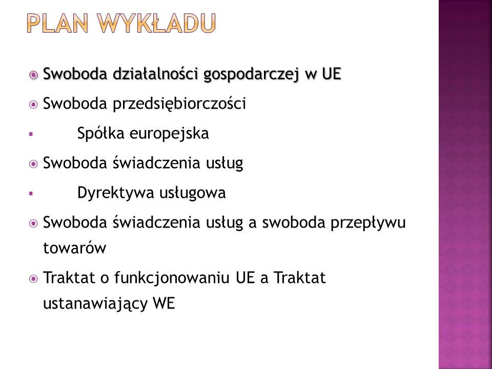 Swoboda działalności gospodarczej w UE Swoboda działalności gospodarczej w UE Swoboda przedsiębiorczości Spółka europejska Swoboda świadczenia usług D