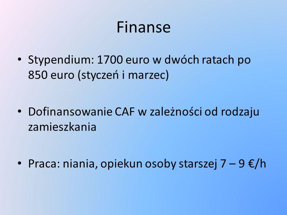Finanse Stypendium: 1700 euro w dwóch ratach po 850 euro (styczeń i marzec) Dofinansowanie CAF w zależności od rodzaju zamieszkania Praca: niania, opiekun osoby starszej 7 – 9 /h