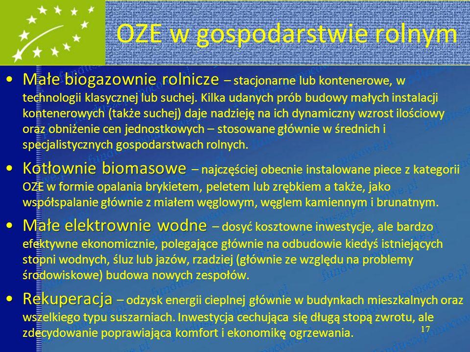 OZE w gospodarstwie rolnym Małe biogazownie rolniczeMałe biogazownie rolnicze – stacjonarne lub kontenerowe, w technologii klasycznej lub suchej. Kilk