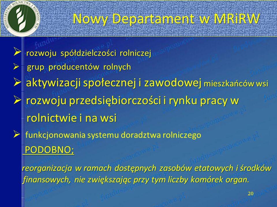 Nowy Departament w MRiRW Nowy Departament w MRiRW rozwoju spółdzielczości rolniczej grup producentów rolnych grup producentów rolnych aktywizacji społ