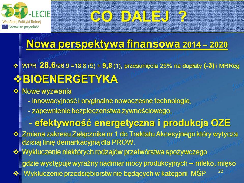 22 Nowa perspektywa finansowa 2014 – 2020 WPR 28,6 /26,9 =18,8 (5) + 9,8 (1), przesunięcia 25% na dopłaty (-3) i MRReg BIOENERGETYKA BIOENERGETYKA Now