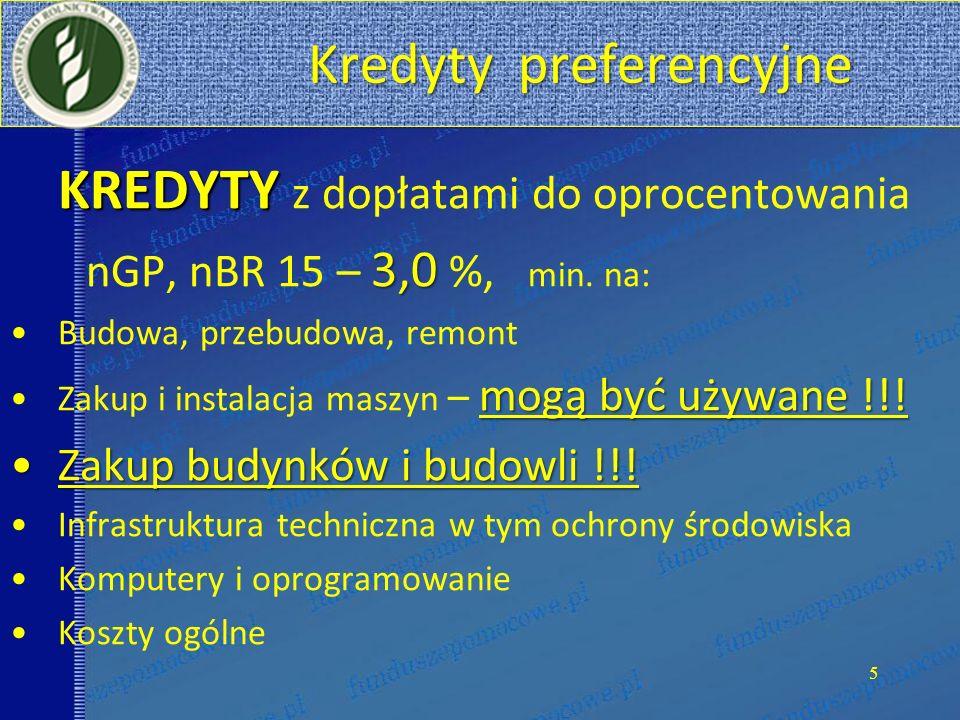 Kredyty preferencyjne Kredyty preferencyjne KREDYTY KREDYTY z dopłatami do oprocentowania 3,0 nGP, nBR 15 – 3,0 %, min. na: Budowa, przebudowa, remont