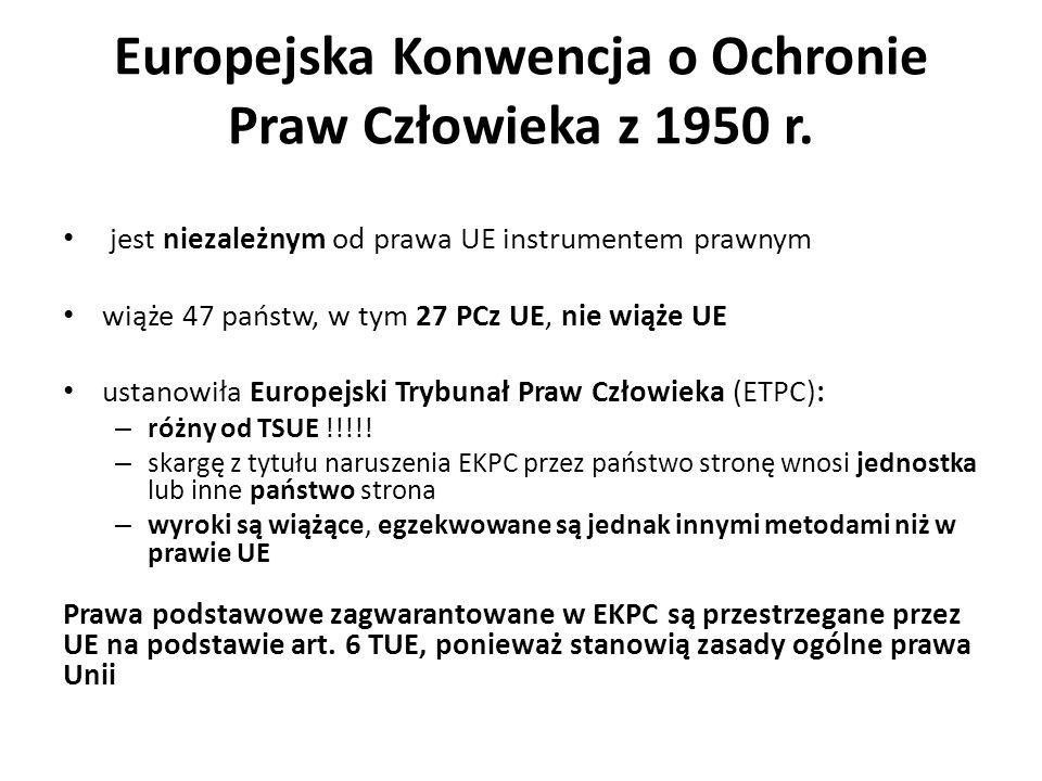 Europejska Konwencja o Ochronie Praw Człowieka z 1950 r. jest niezależnym od prawa UE instrumentem prawnym wiąże 47 państw, w tym 27 PCz UE, nie wiąże