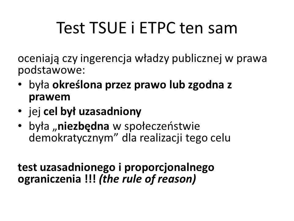 Test TSUE i ETPC ten sam oceniają czy ingerencja władzy publicznej w prawa podstawowe: była określona przez prawo lub zgodna z prawem jej cel był uzas