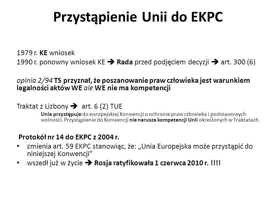 Przystąpienie Unii do EKPC 1979 r. KE wniosek 1990 r. ponowny wniosek KE Rada przed podjęciem decyzji art. 300 (6) opinia 2/94 TS przyznał, że poszano