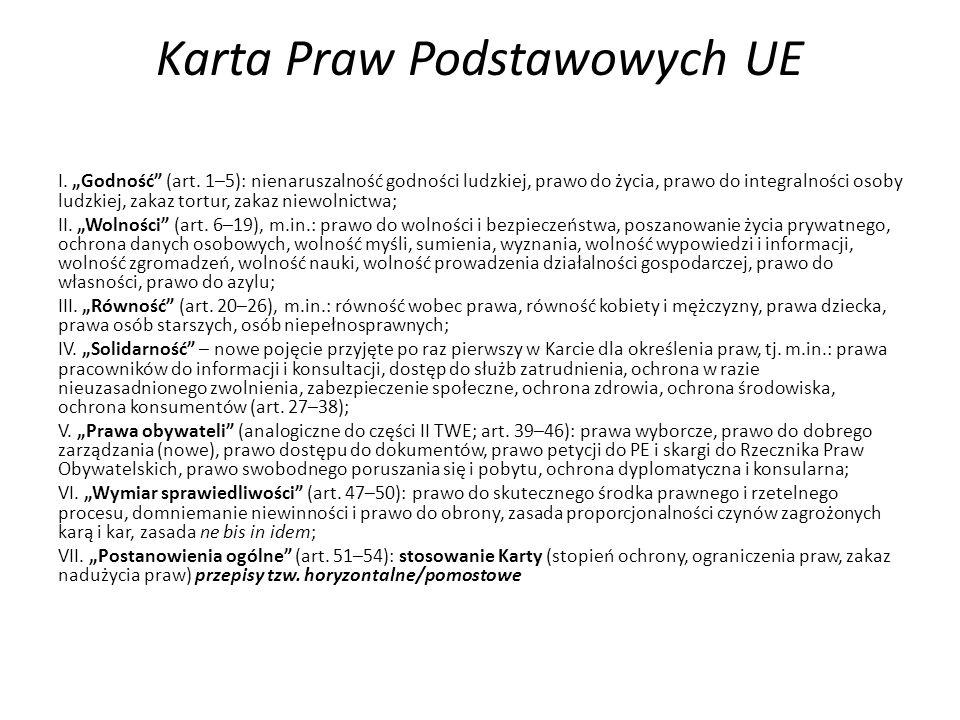 Zmiana statusu Karty Praw Podstawowych Unii wypracowana w specjalnej formule - Konwent, proklamowana przez PE, KE i R w 7 grudnia 2000 r.