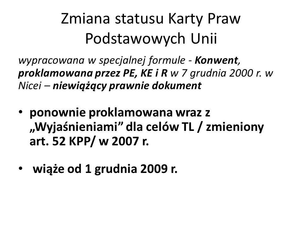 Zmiana statusu Karty Praw Podstawowych Unii wypracowana w specjalnej formule - Konwent, proklamowana przez PE, KE i R w 7 grudnia 2000 r. w Nicei – ni