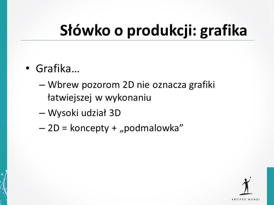 Grafika… – Wbrew pozorom 2D nie oznacza grafiki łatwiejszej w wykonaniu – Wysoki udział 3D – 2D = koncepty + podmalowka Słówko o produkcji: grafika