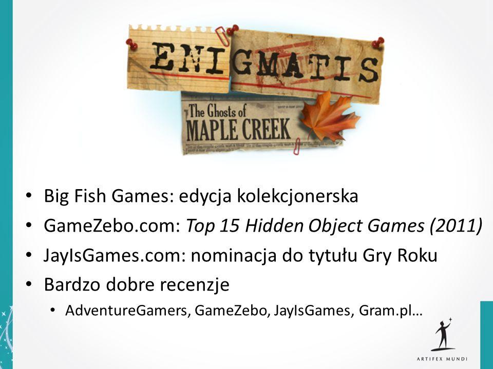 Big Fish Games: edycja kolekcjonerska GameZebo.com: Top 15 Hidden Object Games (2011) JayIsGames.com: nominacja do tytułu Gry Roku Bardzo dobre recenz