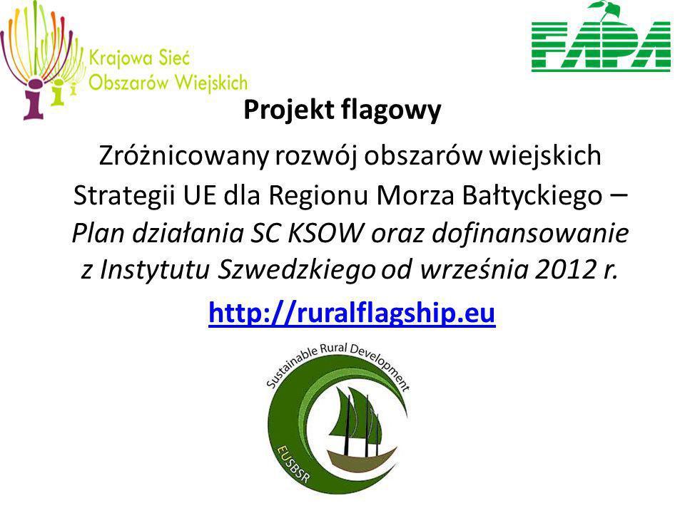 Projekt flagowy Zróżnicowany rozwój obszarów wiejskich Strategii UE dla Regionu Morza Bałtyckiego – Plan działania SC KSOW oraz dofinansowanie z Instytutu Szwedzkiego od września 2012 r.