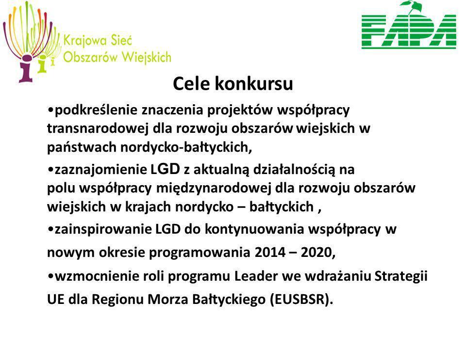 Cele konkursu podkreślenie znaczenia projektów współpracy transnarodowej dla rozwoju obszarów wiejskich w państwach nordycko-bałtyckich, zaznajomienie L GD z aktualną działalnością na polu współpracy międzynarodowej dla rozwoju obszarów wiejskich w krajach nordycko – bałtyckich, zainspirowanie LGD do kontynuowania współpracy w nowym okresie programowania 2014 – 2020, wzmocnienie roli programu Leader we wdrażaniu Strategii UE dla Regionu Morza Bałtyckiego (EUSBSR).