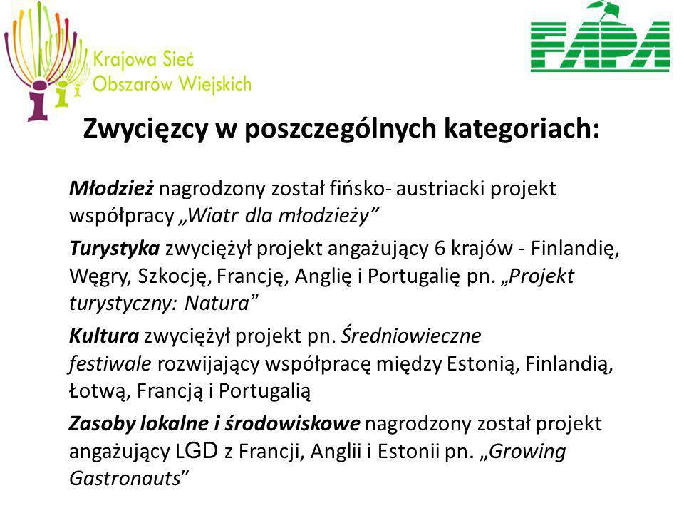 Zwycięzcy w poszczególnych kategoriach: Młodzież nagrodzony został fińsko- austriacki projekt współpracy Wiatr dla młodzieży Turystyka zwyciężył projekt angażujący 6 krajów - Finlandię, Węgry, Szkocję, Francję, Anglię i Portugalię pn.