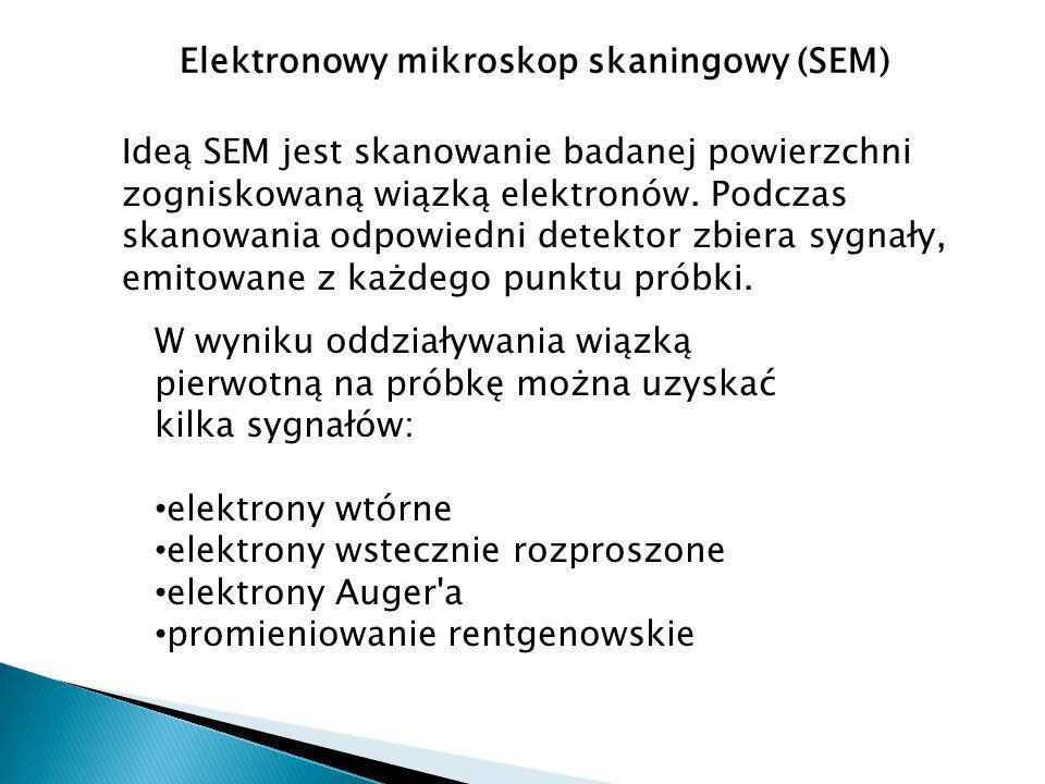 Elektronowy mikroskop skaningowy (SEM) W wyniku oddziaływania wiązką pierwotną na próbkę można uzyskać kilka sygnałów: elektrony wtórne elektrony wstecznie rozproszone elektrony Auger a promieniowanie rentgenowskie Ideą SEM jest skanowanie badanej powierzchni zogniskowaną wiązką elektronów.