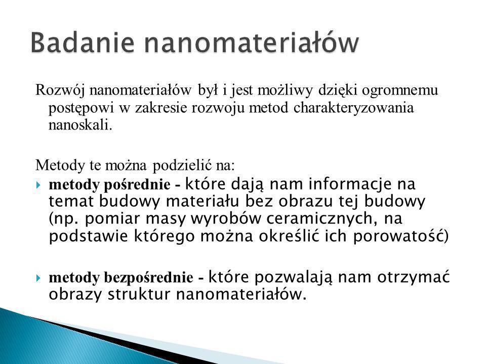 Rozwój nanomateriałów był i jest możliwy dzięki ogromnemu postępowi w zakresie rozwoju metod charakteryzowania nanoskali.