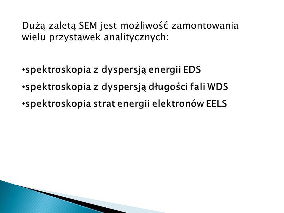 Dużą zaletą SEM jest możliwość zamontowania wielu przystawek analitycznych: spektroskopia z dyspersją energii EDS spektroskopia z dyspersją długości fali WDS spektroskopia strat energii elektronów EELS
