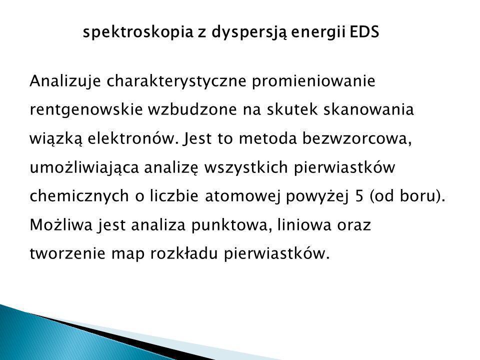 spektroskopia z dyspersją energii EDS Analizuje charakterystyczne promieniowanie rentgenowskie wzbudzone na skutek skanowania wiązką elektronów.
