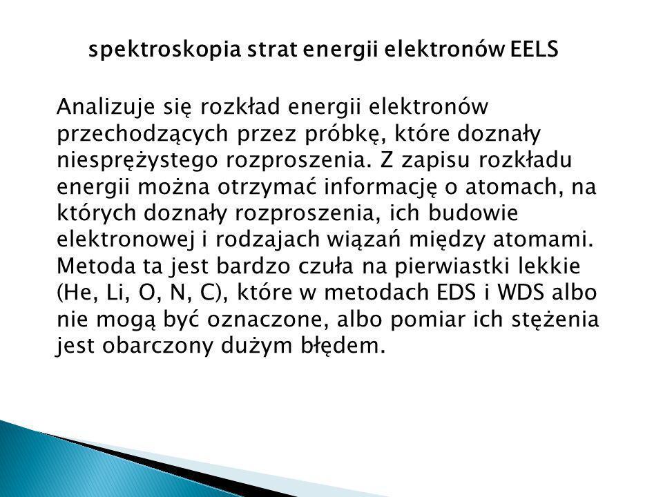 spektroskopia strat energii elektronów EELS Analizuje się rozkład energii elektronów przechodzących przez próbkę, które doznały niesprężystego rozproszenia.