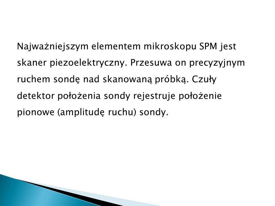 Najważniejszym elementem mikroskopu SPM jest skaner piezoelektryczny.