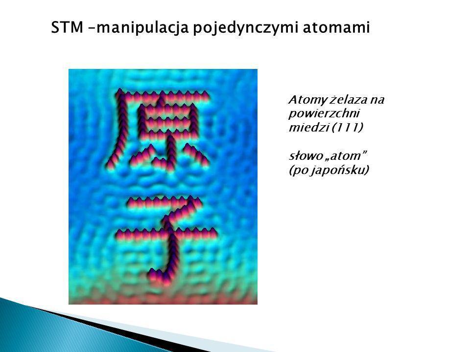 STM –manipulacja pojedynczymi atomami Atomy żelaza na powierzchni miedzi (111) słowo atom (po japońsku)