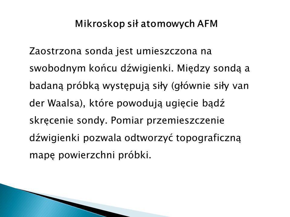 Mikroskop sił atomowych AFM Zaostrzona sonda jest umieszczona na swobodnym końcu dźwigienki.