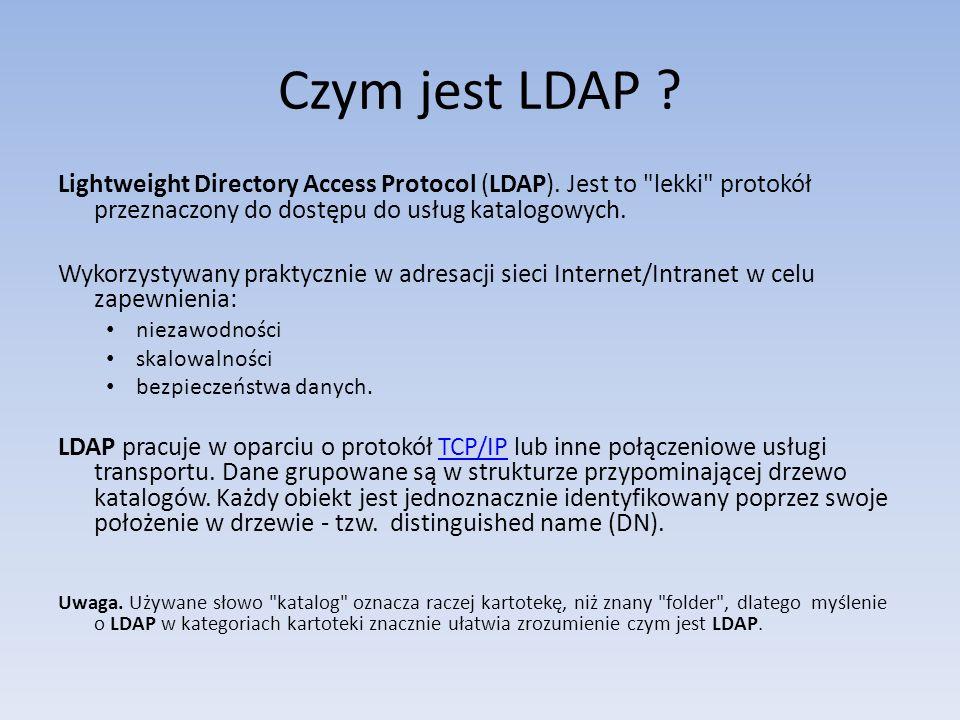 Ciekawe linki Instalacja LDAP http://www.linuxsoft.cz/article.php?id_article=415http://www.linuxsoft.cz/article.php?id_article=415 Instalacja i konfiguracja OpenLDAP http://www.drfugazi.eu.org/pl/ldap/instalacja- i-konfiguracja-openldaphttp://www.drfugazi.eu.org/pl/ldap/instalacja- i-konfiguracja-openldap Wiele ciekawych artykułów odnośnie LDAP http://projekt-ldap.uci.umk.pl/raporty/http://projekt-ldap.uci.umk.pl/raporty/