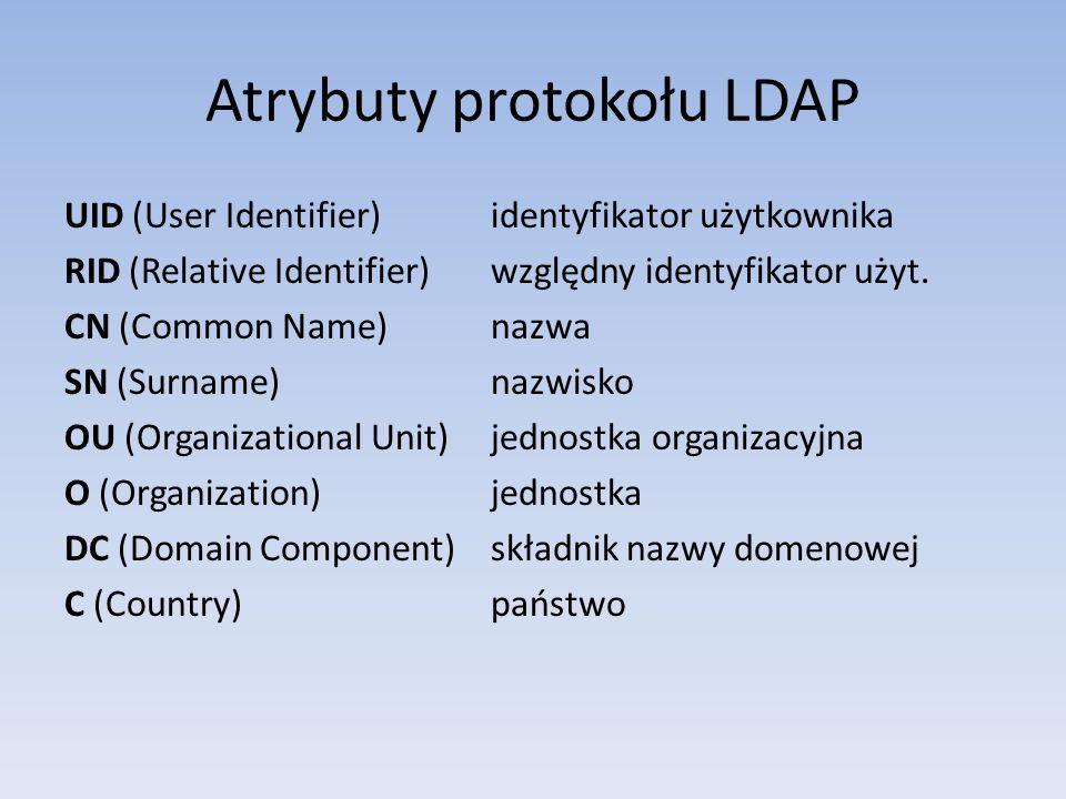 Atrybuty protokołu LDAP UID (User Identifier) identyfikator użytkownika RID (Relative Identifier) względny identyfikator użyt. CN (Common Name) nazwa