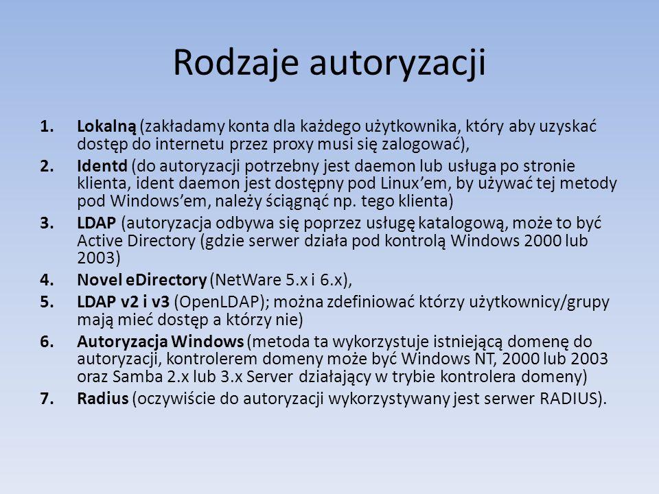 Rodzaje autoryzacji 1.Lokalną (zakładamy konta dla każdego użytkownika, który aby uzyskać dostęp do internetu przez proxy musi się zalogować), 2.Ident