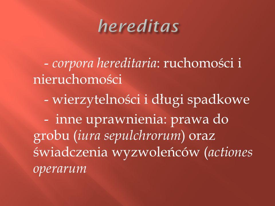 - corpora hereditaria : ruchomości i nieruchomości - wierzytelności i długi spadkowe - inne uprawnienia: prawa do grobu ( iura sepulchrorum ) oraz świadczenia wyzwoleńców ( actiones operarum