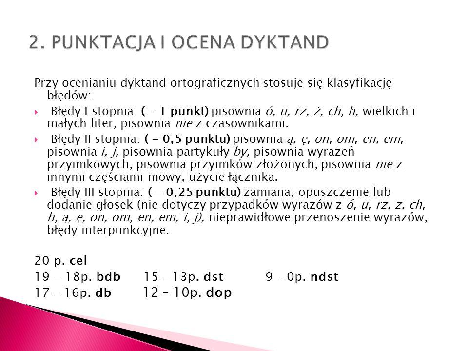 Przy ocenianiu dyktand ortograficznych stosuje się klasyfikację błędów: Błędy I stopnia: ( - 1 punkt) pisownia ó, u, rz, ż, ch, h, wielkich i małych l