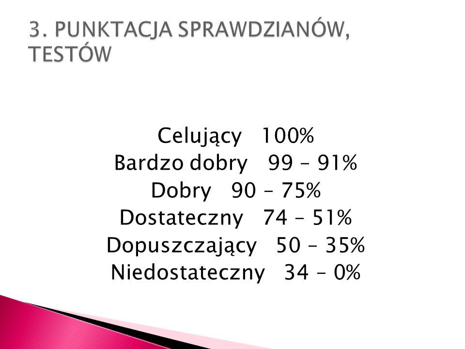 Ocenę niedostateczną otrzymuje uczeń, który: nie opanował wiadomości i umiejętności koniecznych do dalszego kształcenia, nie potrafi samodzielnie tworzyć prostych wypowiedzi pisemnych i ustnych, ma poważne kłopoty z czytaniem i zrozumieniem tekstu prozatorskiego, nie potrafi rozwiązać prostych ćwiczeń ortograficznych i gramatycznych wymagających znajomości podstawowych zasad ortografii i gramatyki polskiej, nie potrafi pracować ze słownikiem i korzystać z zawartych w nim wiadomości, często jest nieprzygotowany do zajęć lekcyjnych, nie odrabia prac domowych i nie stara się poprawić ocen niedostatecznych, nie wykazuje się znajomością lektur przewidzianych programem danej klasy, zeszyt przedmiotowy prowadzi niestarannie, niesystematycznie, nie wykazuje zainteresowania możliwością poprawy swoich osiągnięć szkolnych z języka polskiego.
