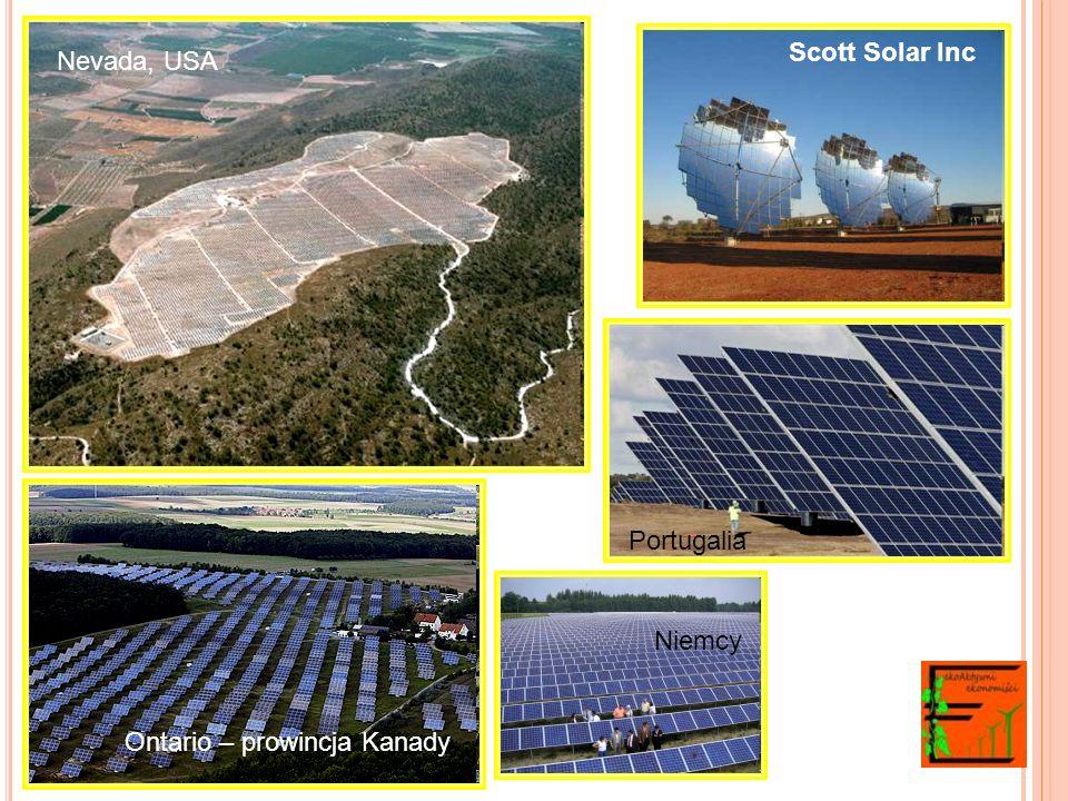 Scott Solar Inc Ontario – prowincja Kanady Nevada, USA Niemcy Portugalia