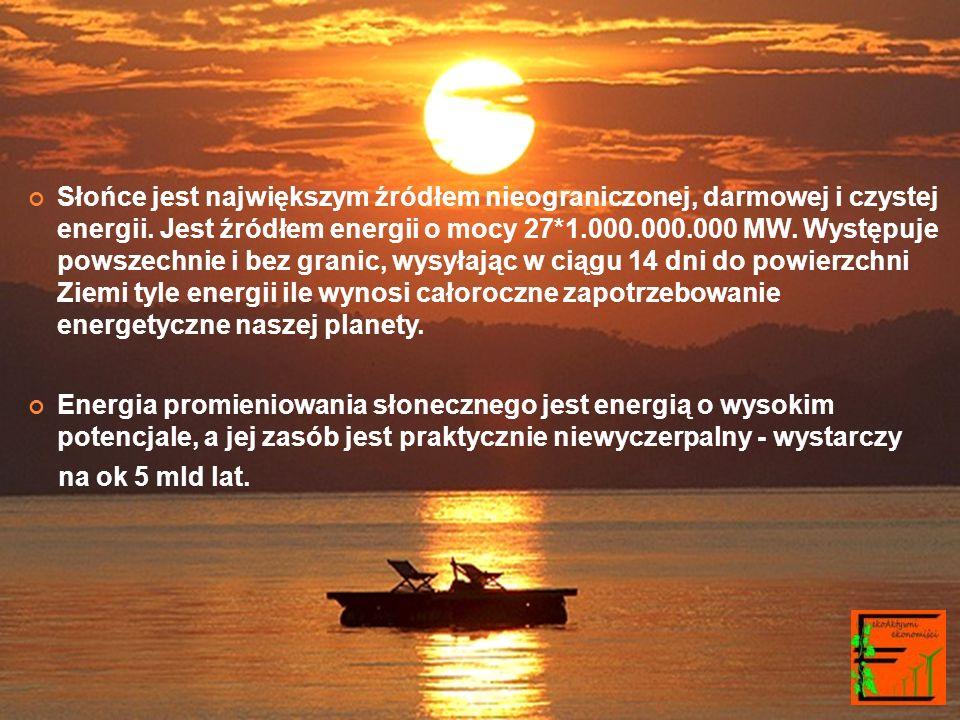 Słońce jest największym źródłem nieograniczonej, darmowej i czystej energii.