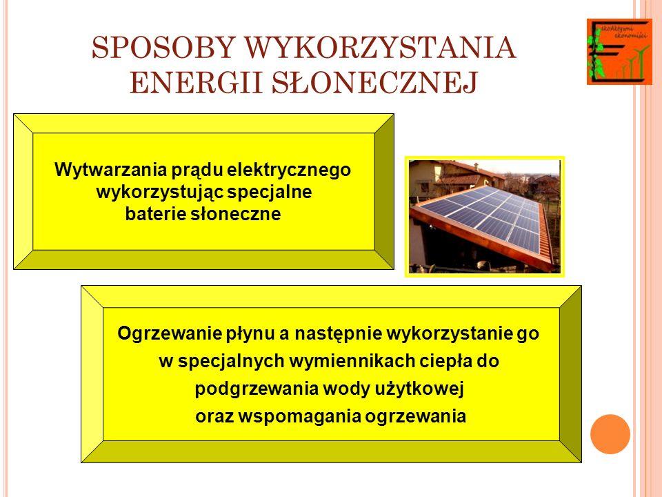 SPOSOBY WYKORZYSTANIA ENERGII SŁONECZNEJ Wytwarzania prądu elektrycznego wykorzystując specjalne baterie słoneczne Ogrzewanie płynu a następnie wykorzystanie go w specjalnych wymiennikach ciepła do podgrzewania wody użytkowej oraz wspomagania ogrzewania
