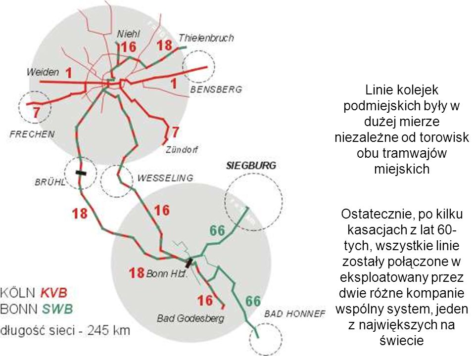 Węzeł Buchheim na trasie do Thielenbruch (fragmencie dawnej linii podmiejskiej do Bergisch Gladbach) - kombinacja tras naziemnych i podziemnych jest charakterystyczną cechą wielu niemieckich systemów tramwajowych; wiele innych wylotów z tuneli zostało zbudowanych po prostu na ulicy (jest ich w sumie około 13 w całym mieście) Widok ze stanowiska motorniczego tramwaju linii 3, który zamierza wybrać tor naziemny.