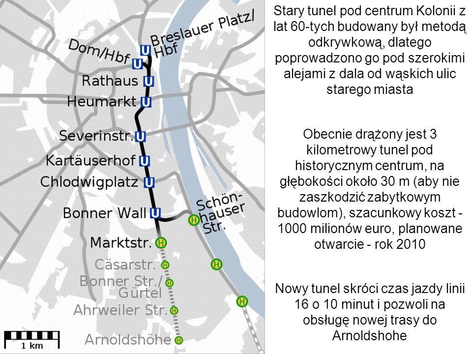 Stary tunel pod centrum Kolonii z lat 60-tych budowany był metodą odkrywkową, dlatego poprowadzono go pod szerokimi alejami z dala od wąskich ulic sta