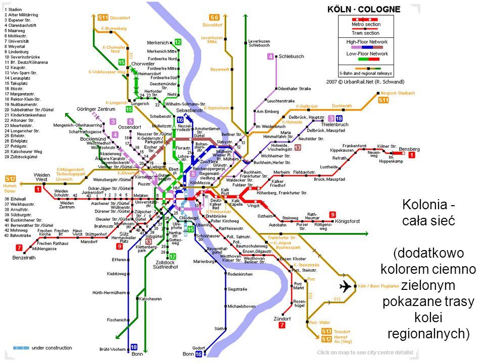Kolonia - cała sieć (dodatkowo kolorem ciemno zielonym pokazane trasy kolei regionalnych)