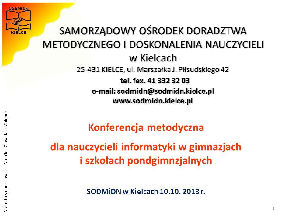 Materiały opracowała - Monika Zawadzka-Chłopek Program konferencji 1.Kierunki realizacji polityki oświatowej w roku szkolnym 2013/2014.