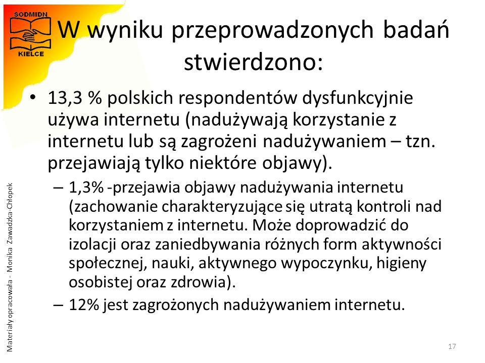 Materiały opracowała - Monika Zawadzka-Chłopek W wyniku przeprowadzonych badań stwierdzono: 13,3 % polskich respondentów dysfunkcyjnie używa internetu