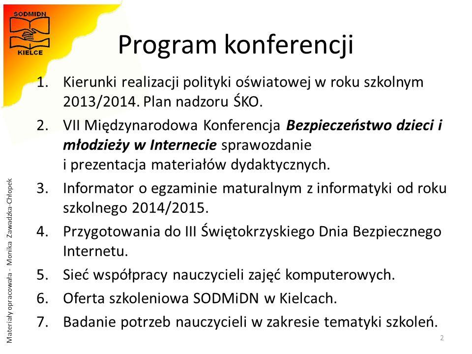 Materiały opracowała - Monika Zawadzka-Chłopek Program konferencji 1.Kierunki realizacji polityki oświatowej w roku szkolnym 2013/2014. Plan nadzoru Ś
