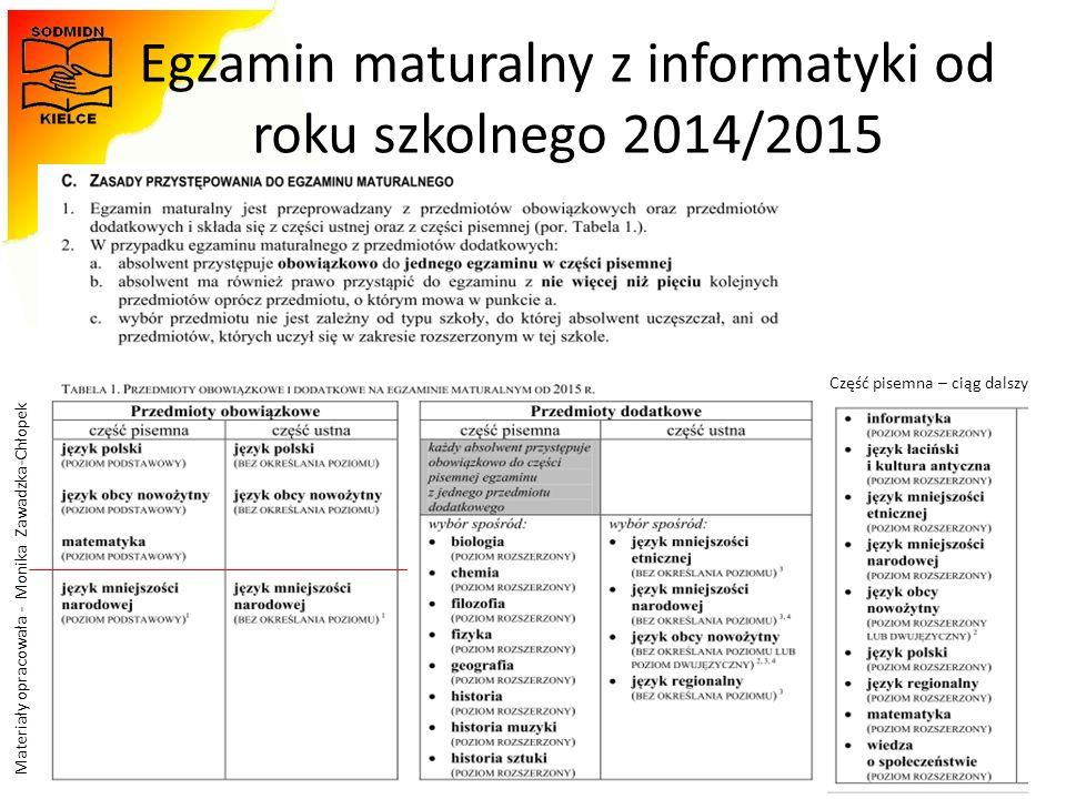 Materiały opracowała - Monika Zawadzka-Chłopek Egzamin maturalny z informatyki od roku szkolnego 2014/2015 31 Część pisemna – ciąg dalszy