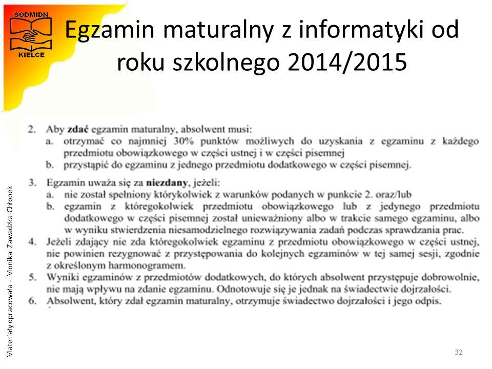 Materiały opracowała - Monika Zawadzka-Chłopek Egzamin maturalny z informatyki od roku szkolnego 2014/2015 32