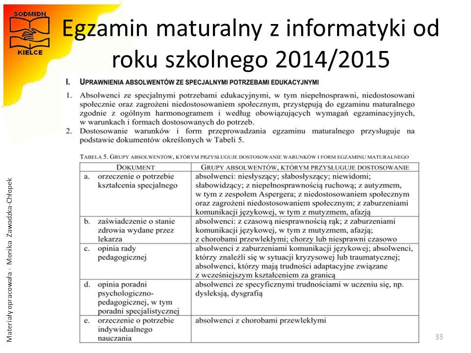 Materiały opracowała - Monika Zawadzka-Chłopek Egzamin maturalny z informatyki od roku szkolnego 2014/2015 33