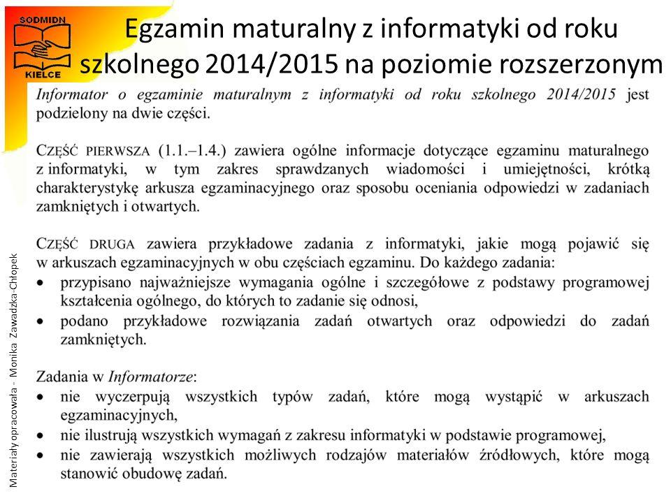 Materiały opracowała - Monika Zawadzka-Chłopek Egzamin maturalny z informatyki od roku szkolnego 2014/2015 na poziomie rozszerzonym 34