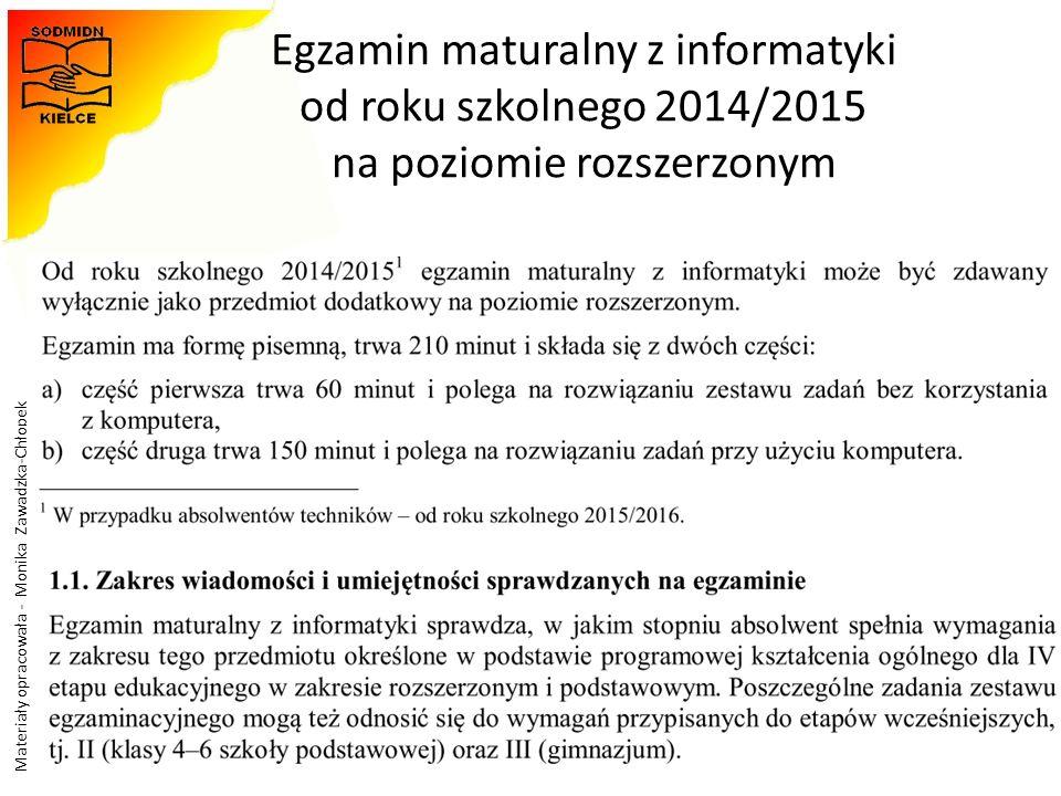 Materiały opracowała - Monika Zawadzka-Chłopek Egzamin maturalny z informatyki od roku szkolnego 2014/2015 na poziomie rozszerzonym 35