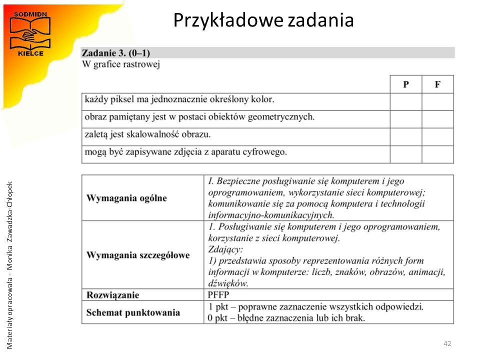 Materiały opracowała - Monika Zawadzka-Chłopek Przykładowe zadania 42