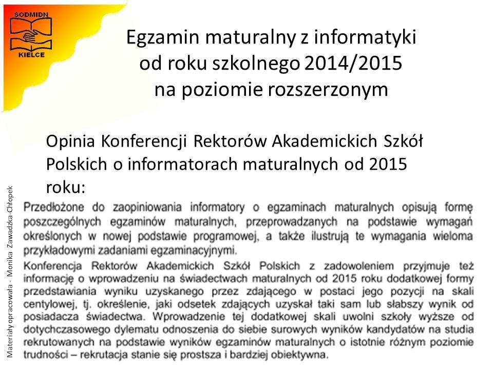 Materiały opracowała - Monika Zawadzka-Chłopek Egzamin maturalny z informatyki od roku szkolnego 2014/2015 na poziomie rozszerzonym 47 Opinia Konferen