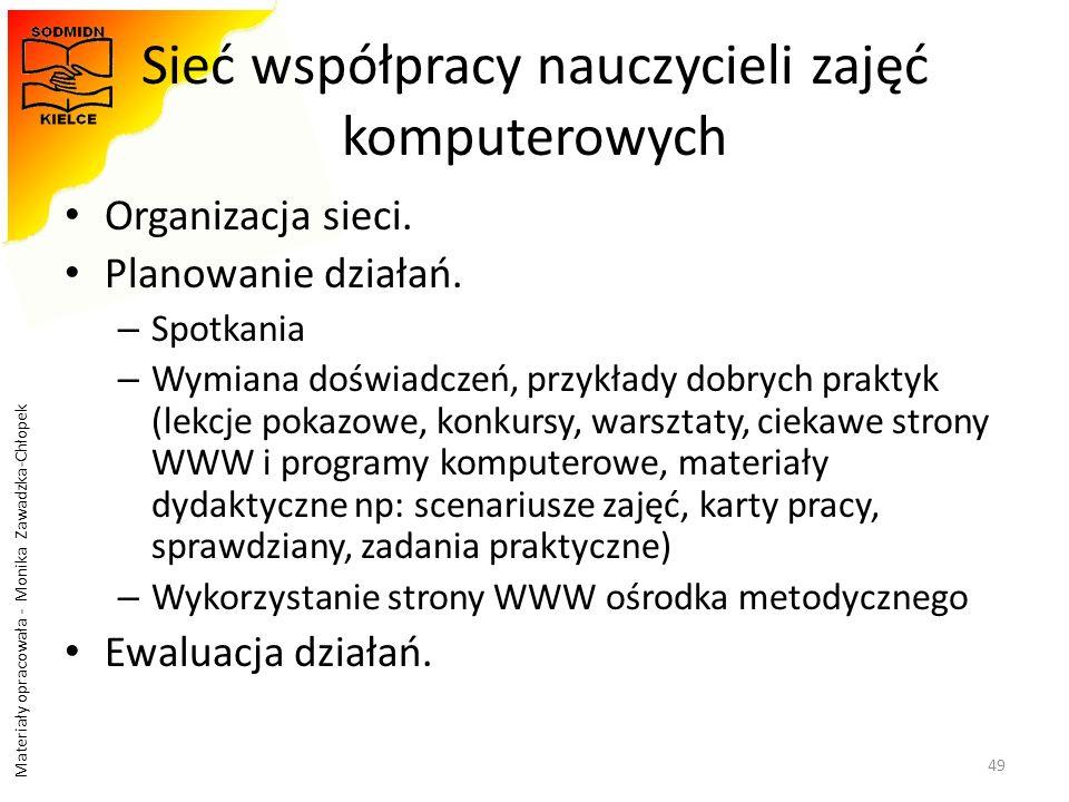 Materiały opracowała - Monika Zawadzka-Chłopek Sieć współpracy nauczycieli zajęć komputerowych Organizacja sieci. Planowanie działań. – Spotkania – Wy